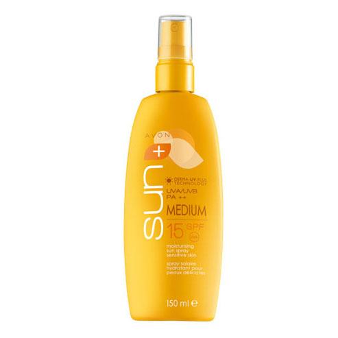 Солнцезащитный увлажняющий лосьон-спрей для чувствительной кожи SPF15
