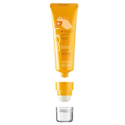 Avon Sun+ Солнцезащитный комплекс для лица: Матирующий крем SPF 20 + Карандаш SPF 30. Высокая степень защиты
