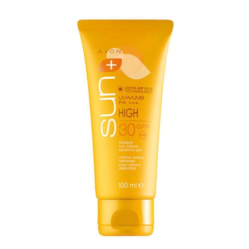 Avon Sun+ Солнцезащитный крем с минеральным комплексом для чувствительной кожи SPF 50. Высокая степень защиты