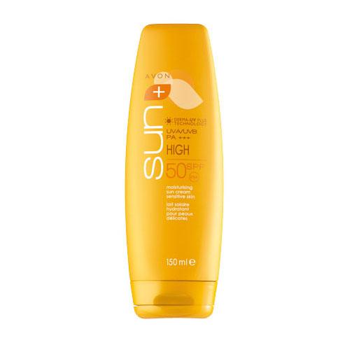 Avon Sun+ Солнцезащитный увлажняющий крем для чувствительной кожи SPF 50. Высокая степень защиты